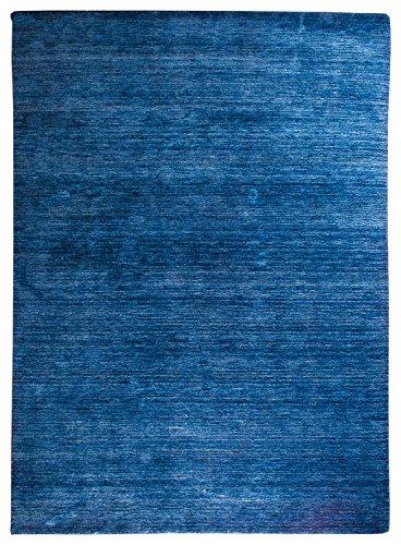 Morgenland Gabbeh Teppich Blau UNI Einfarbig Handgewebt Schurwolle 400 x 80 cm Läufer -