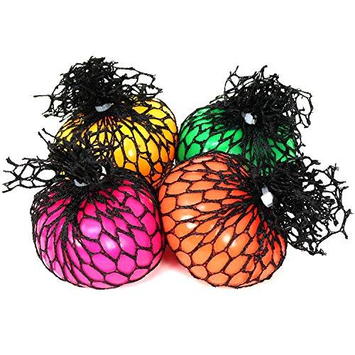 COM-FOUR® 4x Squeeze Ball im Netz, Anti Stress Ball in verschiedenen Farben, ca. 6 cm (Ball Mesh)
