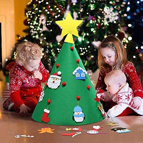coflower Albero di Natale in Feltro Fai da Te con Ornamenti per i Regali di Natale per Bambini