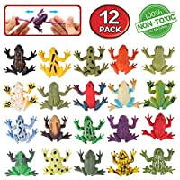 Frog Toys,12 Pack Mini Rubber Frog sets,Food Grade Material TPR Super Stretches,With Gift Bag And Learning Study Card,Zoo World Realistic Frog Figure Squishy Toys For Boy Kids Bathtub