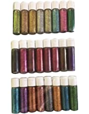 Midas Beautiful & Assorted Colors Sparkle Glitter Powder Bottle For Creative DIY Arts & Crafts - Combo Of 24 - 8ml
