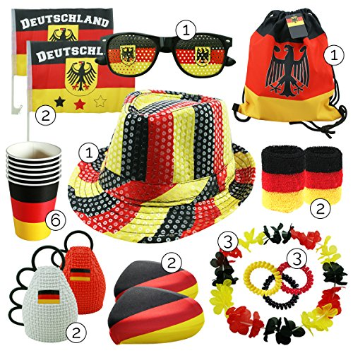int!rend Fanartikel Deutschland Set, 23 Stück, Fanset für Sportereignisse Fussball, Basketball, Hockey, Olympia Fan Artikel