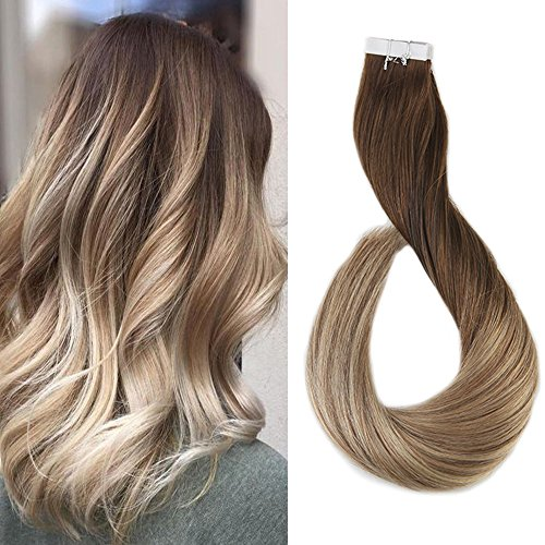 Full Shine 16 Zoll 40cm Seamless Tape Extensions Haar Ombre Farbe #4 Dark Brown Fading to #8 and #22 Blonde Dip Dye Human Hair Extensions Verlangerung Kleber Menschliches Haar 50gram 20 Stuck (Für Extensions Kleber Hair)
