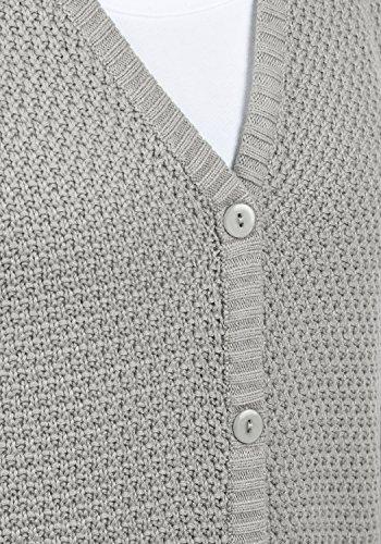 DESIRES Inga Damen Strickjacke Cardigan Feinstrick mit V-Ausschitt und Knopfleiste aus hochwertiger Baumwollmischung Mid Grey (2842)