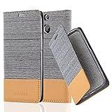 Cadorabo Hülle für HTC ONE M8 (2. Gen.) - Hülle in HELL GRAU BRAUN – Handyhülle mit Standfunktion und Kartenfach im Stoff Design - Case Cover Schutzhülle Etui Tasche Book