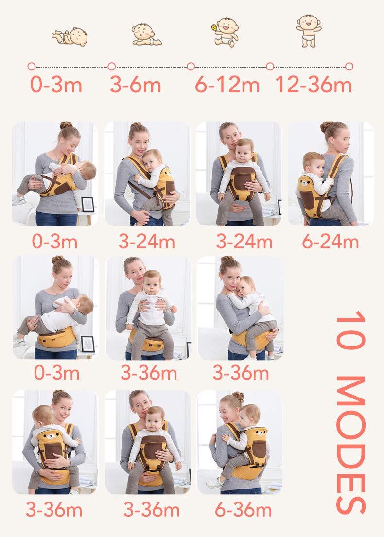 Rufun Babytrage Tiermuster H/üftsitz Ergonomisch f/ür Neugeborene Vorne und Hinten
