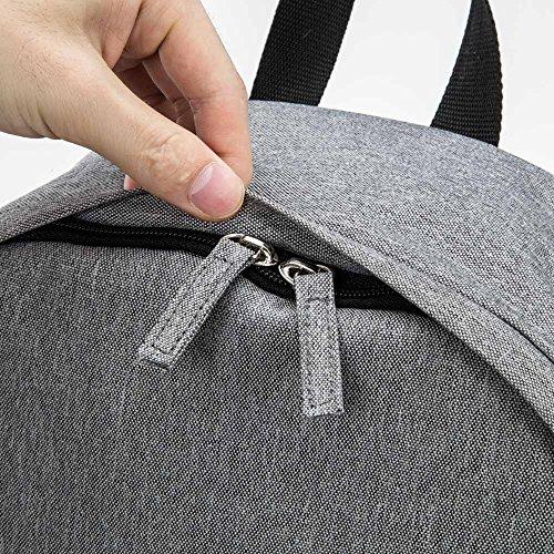 Bwiv Rucksäcke Canvas Unisex Schulrucksack Vintage Schultertasche Daypack Outdoor Backpack Damen Herren Tasche für Retro Reisetaschen Lässige Rosa M Hellgrau