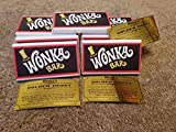 15 willy wonka chocolate bars and golden ticket invite inside