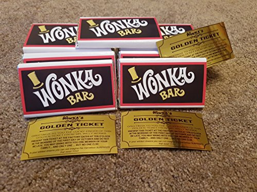 15 wonka REPLICA chocolate bars with a golden ticket invite inside {these are our own hand-made wrappers wrapped round nestle animal chocolate bars}