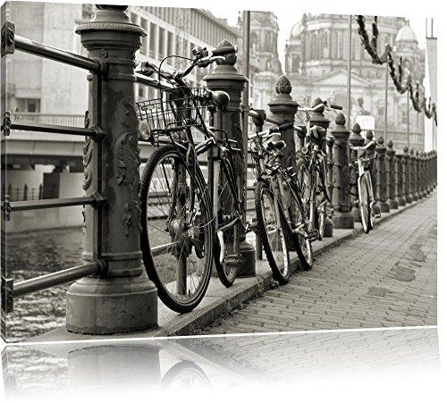 Pixxprint Fahrrad in Amsterdam 80x60cm Leinwandbild Wandbild Kunstdruck