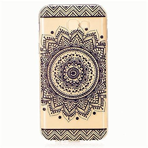 Coque Transparent KSHOP TPU Manchon en Soft Silicone pour Samsung Galaxy A7(2017) Téléphone Shell Case Cover Ultra Mince de Téléphone Portable avec Motif D'impression - Mandala de la Fleur Sacrée Indienne