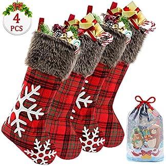 Tacobear 4 Piezas Adornos Navidad Copo de Nieve Medias de Navidad Calcetines con Bolsa de Regalo Fiesta Navidad Decoración para Árbol de Navidad Puerta Pared Casa Jardín Chimenea Ventana