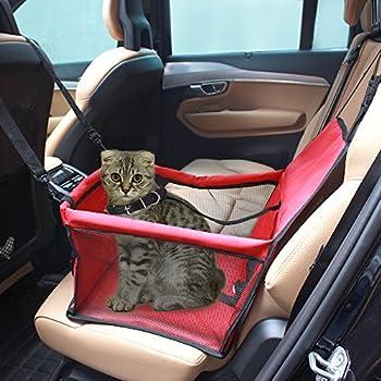 Pet Carrier,Colourstone Taille L Pet Car Mat Porte-voiture pour Chien pour Ensemble pour chat / Ceinture / siège d'appoint Sac de voyage Porte-cage Fourre-tout pour chenil Facile à plier Taille L Poids jusqu'à 240 Ounce(Rouge)