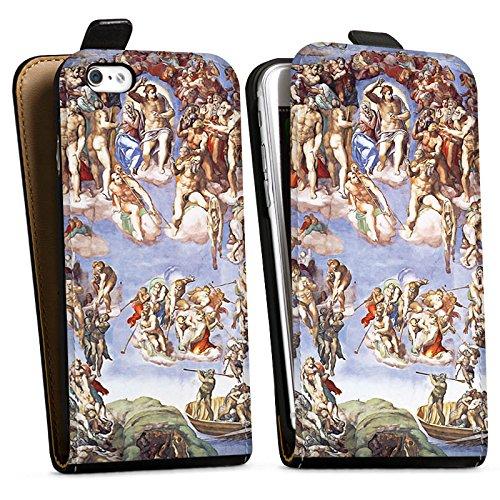 Apple iPhone X Silikon Hülle Case Schutzhülle Michelangelo Buonarroti Das jüngste Gericht Gemälde Downflip Tasche schwarz