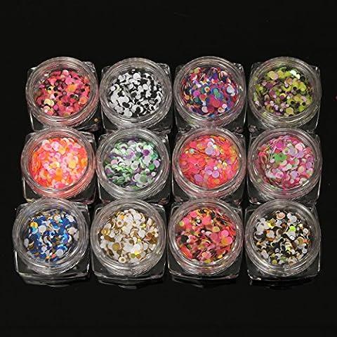 Bluelover 12pcs Nagel Dekoration Glitter Sequins Runde Tipps DIY Design Maniküre Mitarbeiter Bunte Ornamente