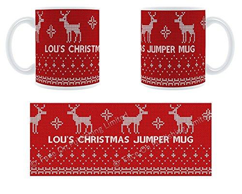 Lou Lou Damen Pullover (Lou'Damen-Pullover mit Rentier-Design, Becher, Tasse, Keramik)