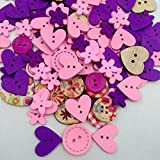 #8: Magideal Mixed Color Wooden Buttons Sewing Kids Scrapbooking DIY Craft Pink