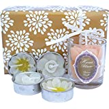 Hana Blossom Handmade Fair Trade Scented Votive Beeswax Candle and 4 Flower Tealight Candle Gift Set, White Cream