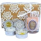 Hana Blossom caja de comercio justo y hecho a mano velas aromáticas varios colores y juego de 5 velas de flores, juego de 3