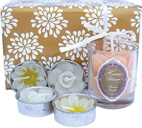 Tasse Hana fleurs fait à la main-commerce équitable votives Parfumées Bougie à la cire d'abeille et 4 Motif fleur Coffret cadeau, avec un bougie chauffe-plat Blanc crème