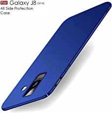 Sunny Fashion All Angle Protection Ultra-Slim Lightweight Matte Hard Case Back Cover for Samsung Galaxy J8 2018 - (Blue)