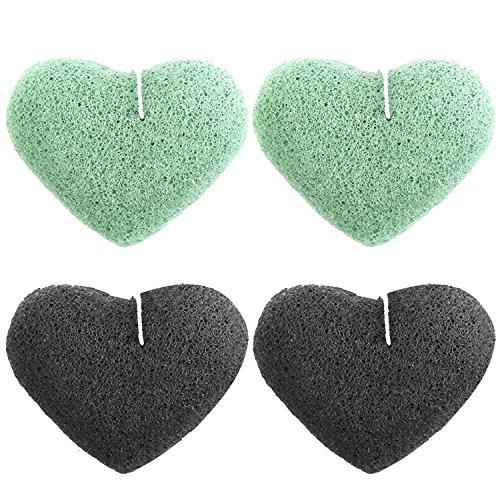 4 pcs 2 couleurs Soft Natural konjac éponge faciale nettoyant éponges pour éliminer la saleté d'huile points noirs lissage de la peau amour du cœur style