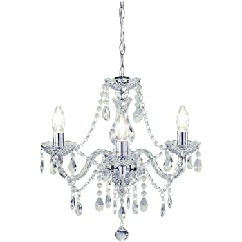 Tuscany Elegant Chandelier Ceiling Light Acrylic Crystal Droplets with 3 lights ideal for Living Room, Bedroom, Dining Room, Hallway