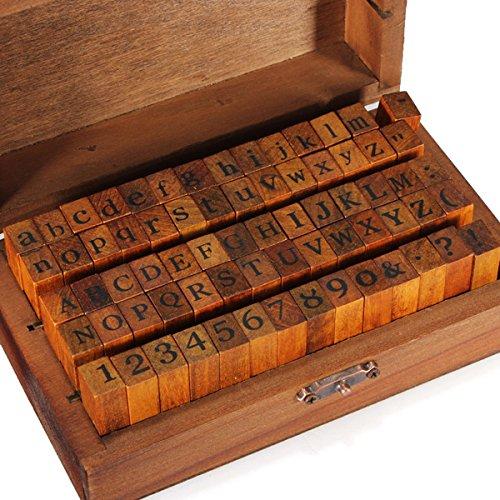 Gespout 70 STK Holz Gummi Stempel Set Box Retro-Stil mit Buchstaben Stempeln Groß und Kleinbuchstaben Alphabet Zahlen und Symbole