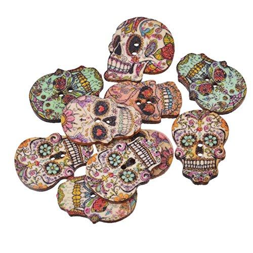 50 unds botones de calaveras de madera nuevo look a chaquetas,...