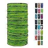 ebos Multifunktionstuch ✓Schlauchtuch   Multischal   Bandana   Halstuch   Kopftuch (Streifen grün)