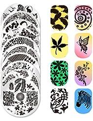 Born Pretty Lot De 10 Plaques De Stamping Intégrales Nail Art Round Plates Templates #BP 16-25