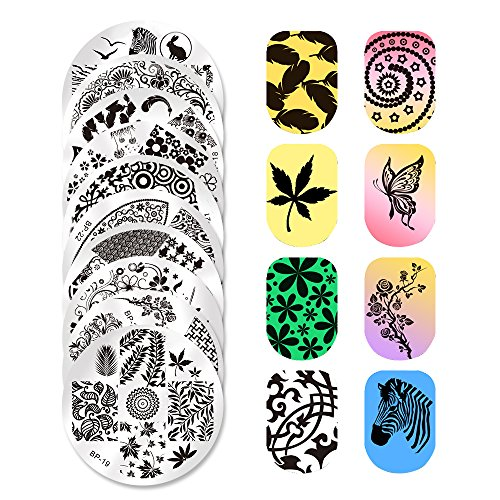 Born Pretty 10PCs Nail Art Stamping Template...