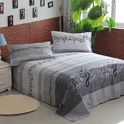 Linge de lit Wddwarmhome Gris Motif de la Note Musicale Mois de lit en Coton Plus épais Chambre Simple Dortoir étudiant Enfant 1.5m 1.8m 2.0m Lit Simple Lit Double Couvre-lit (Taille : 160 * 230cm)