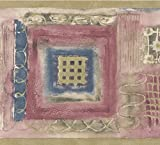 Retro Art Rot blau braun weißes Abstract Wallpaper Border Quadrat Formen Design, Roll-15' x 7''