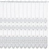 Plauener Spitze by Modespitze, Store Bistro Gardine Scheibengardine mit Stangendurchzug, hochwertige Stickerei, Höhe 96 cm, Breite 112 cm, Weiß