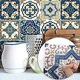 DMMASH Fliesen Kreative Art Deco Schlafzimmer Wohnzimmer Küche Marokkanischen Stil Fliesen Neue Wandaufkleber Treppenhaushome Decor Möbel Dekor Einfach Zu Installieren DIY,20*20Cm