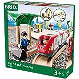 Brio 33209 - Set de carretera y vías de tren (33 piezas, 76 x 75 mm) [importado de Alemania]