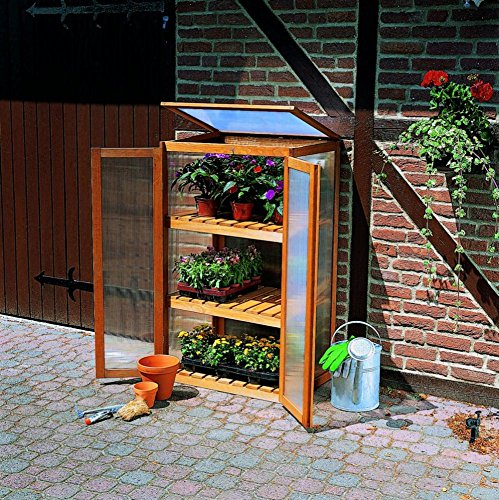 floristikvergleich.de Anzuchtschrank Mini-Gewächshaus Holz imprägniert Garten
