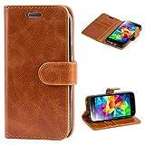 Mulbess Ledertasche im Ständer Book Case / Kartenfach für Samsung Galaxy S5 mini Tasche Hülle Leder Etui,Braun