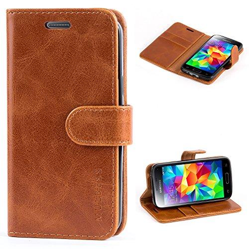 Mulbess Handyhülle für Samsung Galaxy S5 Mini Hülle, Leder Flip Case Schutzhülle für Samsung Galaxy S5 Mini Tasche, Cognac Braun