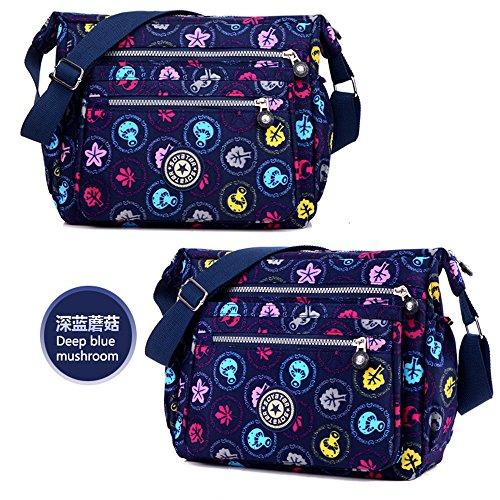 enknight Nylon Borsa a tracolla portafoglio del Borsa per donna viaggio borsa a tracolla, nero (Nero) - DS-ENK-LLB116 Deep Blue Mushroom