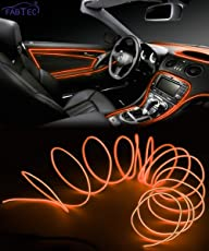 FABTEC EL Wire Car Interior Light Ambient Neon Light for Cars With Adapter (Red, 5 Meter)