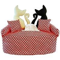 Katzenpaar auf Rot mit weißen Blüten - Bezug für Taschentuchschachtel oder Kosmetiktuchbox - Handgefertigte Geschenkidee