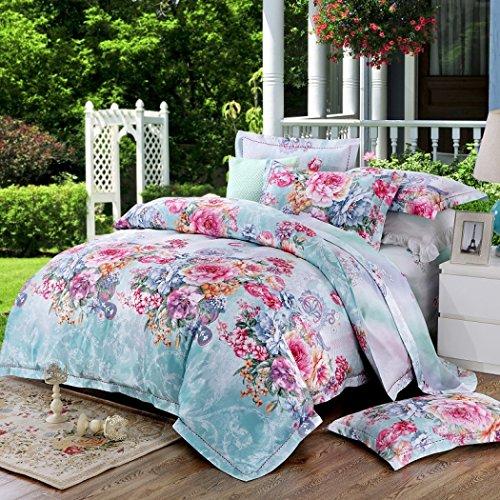 Bettbezug-Sets Bettwäsche große Floral Jacquard 4-teilig Baumwolle Bettbezug, atmungsaktive Quilt-Sets weiche Bettwäsche und Kissenbezüge,C,Queen 200*230cm