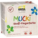 Kreul 28400 - Mucki leuchtkräftige Stoff - Fingerfarbe, 4 x 150 ml in gelb, rot, blau und grün