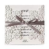 Dream Planner Square Laser Cut Hochzeit Einladungen Karten Kits mit Bowknot hohlen Cardstock für Ehe Engagement Bridal Shower Baby Shower Birthday graduation, 1 Stk, WM207 (1)