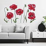 decalmile Stickers Muraux Coquelicots Rouges Autocollant Murale Fleur la Nature Décoration Murale Chambre Enfants Salon Burea
