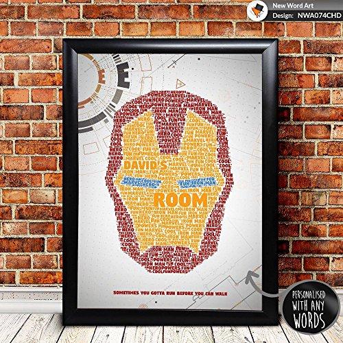 personalisierbar Marvel Iron Man Geburtstag Weihnachten Geschenk Geschenk Xmas Wort Art, A4 Print & Black Frame
