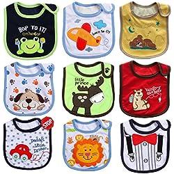 JT-Amigo Baberos del Bebé Impermeables - Paquete de 9 Diseños para Niño