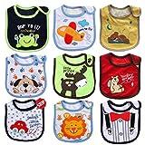JT-Amigo 9er Set Baby Jungen Lätzchen, Baumwolle, Wasserdicht, verschiedene Motive